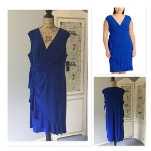 Chaps Ruffled Faux-Wrap Dress NWT